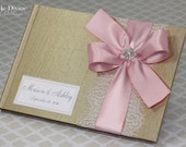 Gold Champagne Pink Wedding Guest Book Custom Made in your Colors