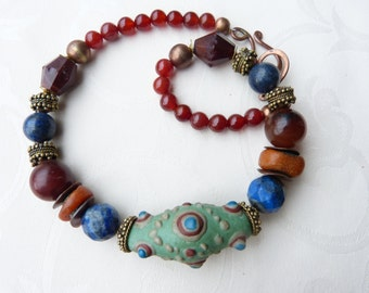 Exquisite Chinese Warring States bead necklace with genuine antique amber, Satement Necklace