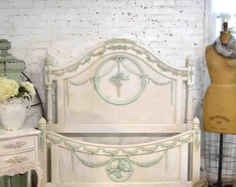 French Bed Painted Cottage Romantic French Full / Double Bed BD758
