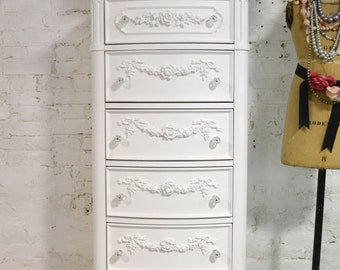Lingerie Chest Painted Cottage Chic Shabby White Lingerie Chest CH847