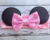 Pink Minnie Mouse ears headband with sequin Bow Baby Soft Cotton headband wrap headband holiday headband Babies 1st birthday