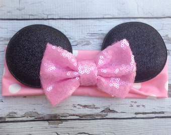 Pink Minnie Mouse ears headband with sequin Bow Baby Soft Cotton headband wrap headband holiday headband Babies 1st birthday