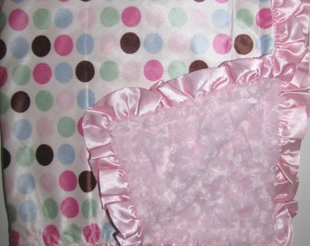 "New Baby nursery receiving blanket girl boy shower gift You choose 20 prints 30"" satin ruffle edge pink rose fur dots"