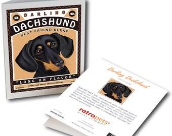 "Dachshund Cards ""Darling Dachshund"" 6 Small Greeting Cards by Krista Brooks"