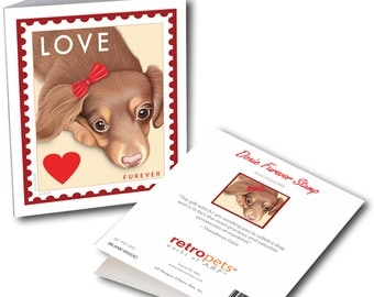 """Dachshund Cards """"Dachshund LOVE Stamp"""" 6 Small Greeting Cards by Krista Brooks"""