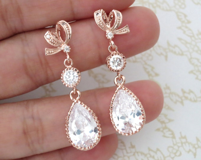 Rose Gold Cubic Zirconia Teardrop Earring - gifts for her, earrings, bridal gifts, drop, dangle, pink gold weddings, ribbon earrings, love