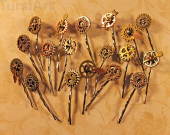 Steampunk Hair Pin Steampunk bobby pin Steampunk Hairpin Barette Hair Clip Hair Clasp Jewelry Wedding Cog & Gears Clockwork Clock Hands gift