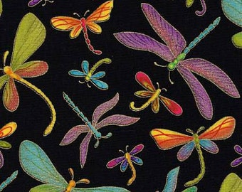 Timeless Treasures - Black Dragonfly Metallic - Bug Fabric by the Yard M1-BLK