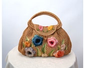 RESERVED Vintage raffia straw bag hand bag purse large flowers Made in the Philippines Fine Arts Bag Co.