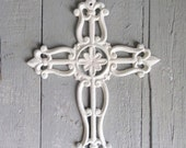 Rustic White Cross, Cast Iron Cross, Cross Wall Decor, Shabby and Chic, Cottage Chic, Ornate Cross, Religious Symbol, Baptism Gift