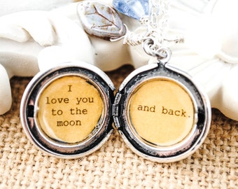 I love you to the moon and back - Women's Locket - in antique silver