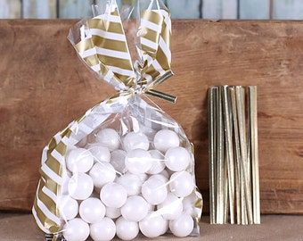 Small Striped Gold Cellophane Bags & Twist Ties, Christmas Goodie Bags, Wedding Favor Bags, Clear Candy Bags, Gold Favor Bags, Sweet Bags