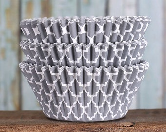 Gray Cupcake Liners, Gray Quatrefoil Cupcake Liners, BakeBright Cupcake Liners, Casa Blanca Cupcake Liners, Baking Cups, Cupcake Cases (50)