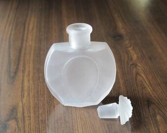 Vintage White Frosted Glass Perfume Bottle with Frosted Flower Stopper / Mid Century Fragrance Bottle, Scent Bottle Dresser Vanity Top Decor