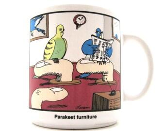 "The Far Side 1987 Gary Larson Coffee Cup Mug  ""PARAKEET FURNITURE"""
