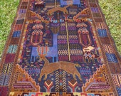 """Gorgeous Pictorial Hunting Carpet Rug  Woven Kilim/Tapis. 6 ft 8"""" x 4 ft . 203 x 122 cm. Traditional."""