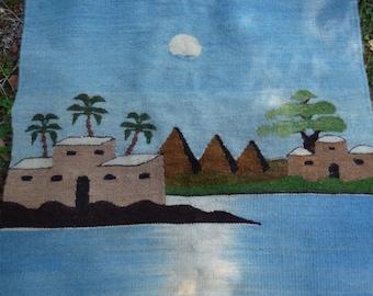 "Smaller Wool  Kilim/Mat/Wall hanging. Arabian. Pyramids. Hand woven. 27 x 37"" 69 x 94 cm"