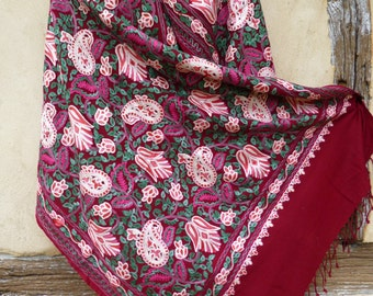"""Luxurious Cherry Red Pashmina Embroidered shawl/stole. 80 x 30"""" Pure wool . Kashmir."""