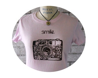 35 MM Ladies Camera Tshirt, Cotton Crewneck Tee Shirt,  light pink or your color choice