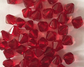 50 x 8mm red glass bicone beads