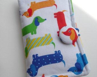 Tea Wallet Dachshund, Weenie Dog, Wiener Dog, Doxie Dog,  Red Green Blue Fabric on White Background