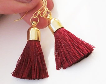 Tassel Earrings Wine Silk Fringe Earrings BohoChic Everyday Earrings Gold Wine Red Earrings Christmas Gift to Her Wine Tassel Earrings