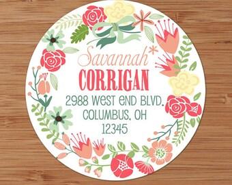 Pink & Peach Stencil Floral Wreath - Custom Address Labels or Stickers