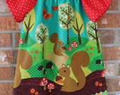 Squirrel Hedgehog Girl's Toddler Flutter Sleeve Dress For Any Occasion Size 3T Ready To Ship