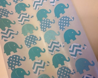 Teal Paper Elephant stickers 50 pc  New Baby