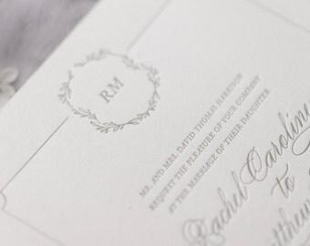 Florence Letterpress Wedding Invitation - Letterpress Wedding Invitation - Traditional Letterpress Wedding Invitation- Foil Stamping
