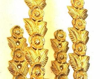 Large Brass Floral Curtain/Drape Tie Backs