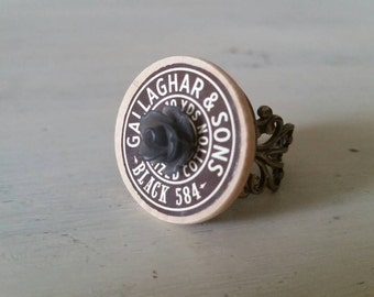 Vintage Inspired Charcoal Spool Top Button Ring