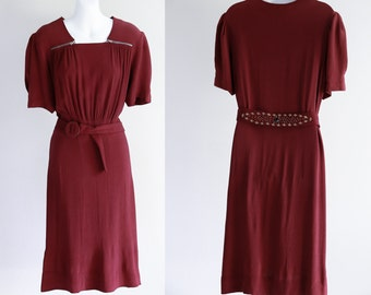 Cranberry Dress with Zippered Shoulders, Studded Belt - Size M - L