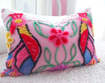 SWEETEST PEACOCK FLORAL Vintage Chenille And Minky Fabric Pillow Sham