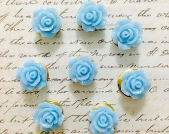Pale Blue Rose Push Pins - Push Pins - Decorative Push Pins - Flower Push Pins - Office Accessories - Housewares - Office - Push Pins