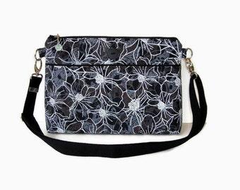 Medium Black Zippered Crossbody Bag - Black Gray Messenger Purse - Fabric Cross Body Purse - Outside Pockets - Zipper Closure Shoulder Bag