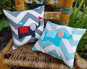 Grey Elephant Tooth Fairy Pillow for boy on Chevron