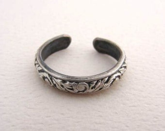 Sterling Silver Toe Ring  with Leaf Pattern - Solid 925 TR9771