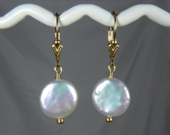 Large AAA Coin Pearl Earrings,  Large White Freshwater Coin Pearls with Superb Luster, Pink and Green Highlights, Gold Leverback Ear Wires