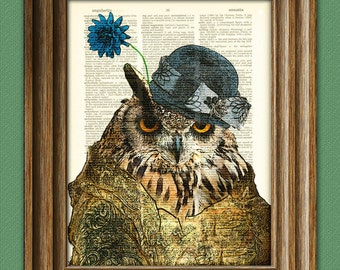 The Owl Lady is wearing her Sunday best print over an upcycled vintage dictionary page book art