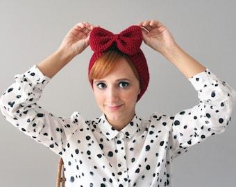 Dark Red Big Bow Knitted Headband