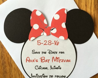 Minnie Save the Date Card Minnie Mouse Inspired Save the Date Bat Mitzvah Wedding Card