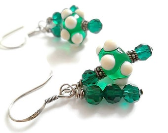 Lampwork Bead Earrings/ Green and White Earrings/Swarovski Crystal/Sterling Silver/ French Hook