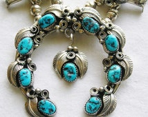 Navajo Sterling Silver Turquoise Foliate Squash Blossom Necklace