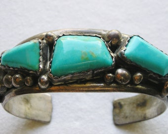 Chunky Navajo Sterling Silver Turquoise Cuff Bracelet