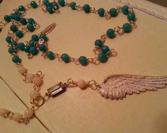 Angel Wing Necklace, Turquoise Necklace, Boho Necklace, Rosary Chain Necklace, Boho Necklace