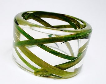 Size Medium Wild Grass Resin Jewelry.  Botanical Resin Bracelet. Personalized with Engraving.