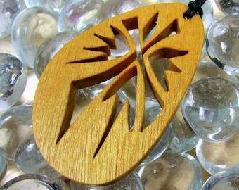 Cross Pendant / Burst Design / Exotic Yellow Heart Wood