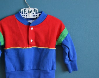 Vintage Baby's Colorblock Sweatshirt with Snaps - Size 3-6 Months