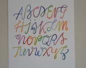 ABC watercolor calligraphy print- 8x10""